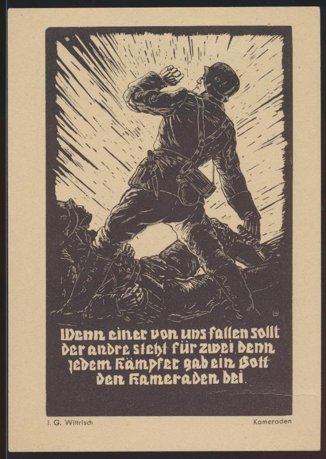 Reich 2 Weltkrieg selt Künstlerkarte sign IG Wittrisch Feldpost Kunst der Front  0