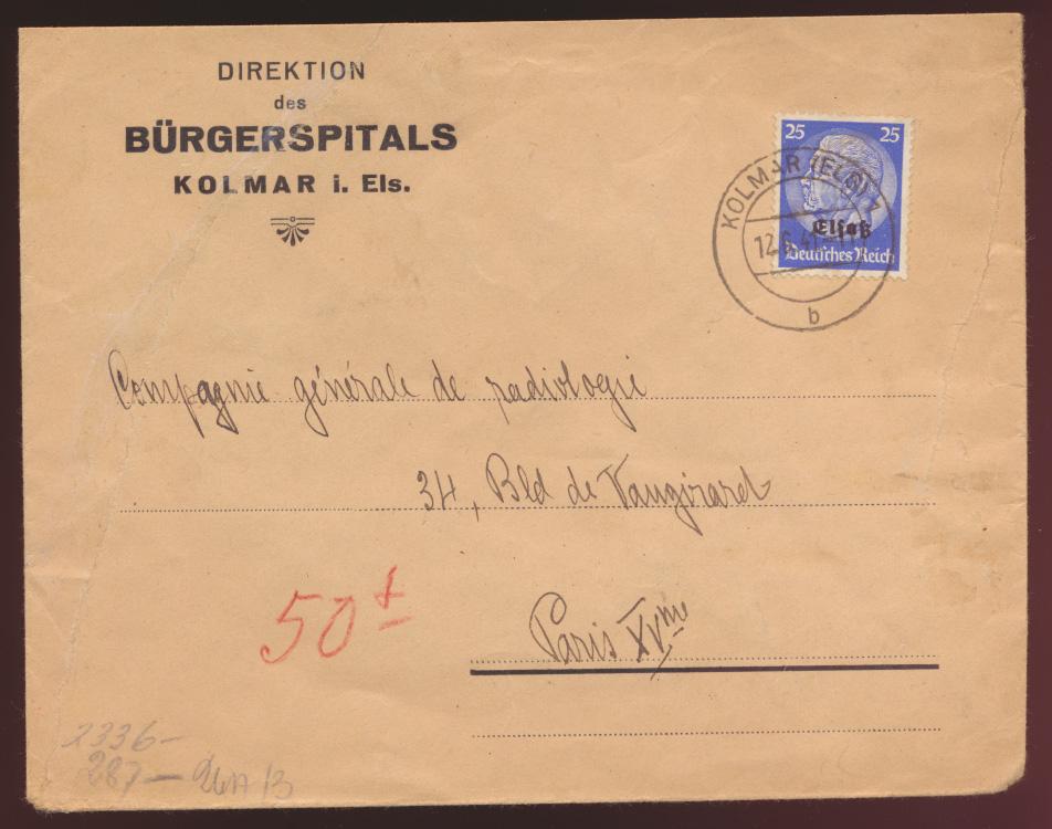 Besetzung 2. Weltkrieg Elsaß Zensur Brief EF 25 Pfg. Aufdruck Hindenburg  0