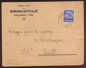Besetzung 2. Weltkrieg Elsaß Zensur Brief EF 25 Pfg. Aufdruck Hindenburg