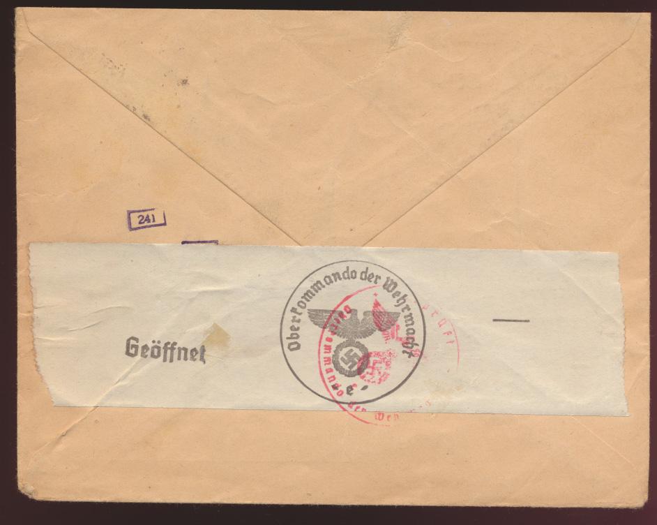 Besetzung 2. Weltkrieg Elsaß Zensur Brief EF 25 Pfg. Aufdruck Hindenburg  1