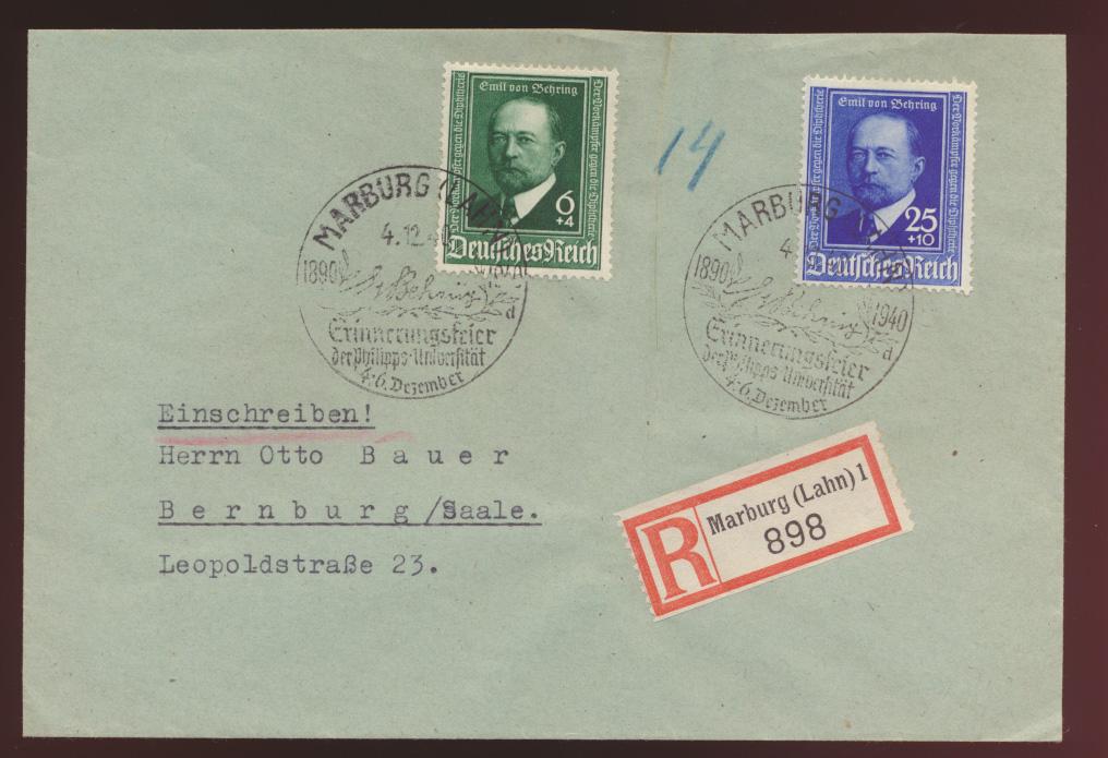 D. Reich R Brief Behring Krankheit 760-761 SST Marburg Universität nach Bernburg 0