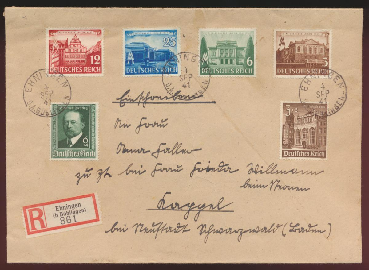 Deutsches Reich R-Brief MIF Behring Leipziger Messe WHW Ehningen 0