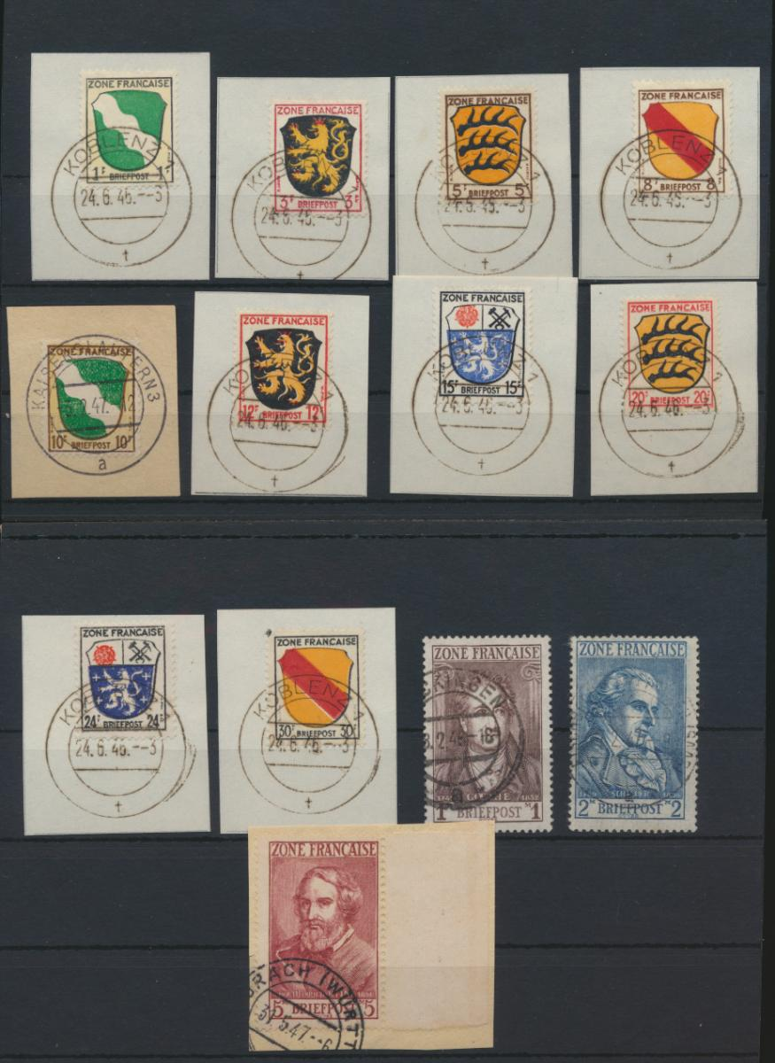 Besetzung Franz. Zone Allgemein 1-13 teils Briefstücke teils gepr Schlegel 250,- 0