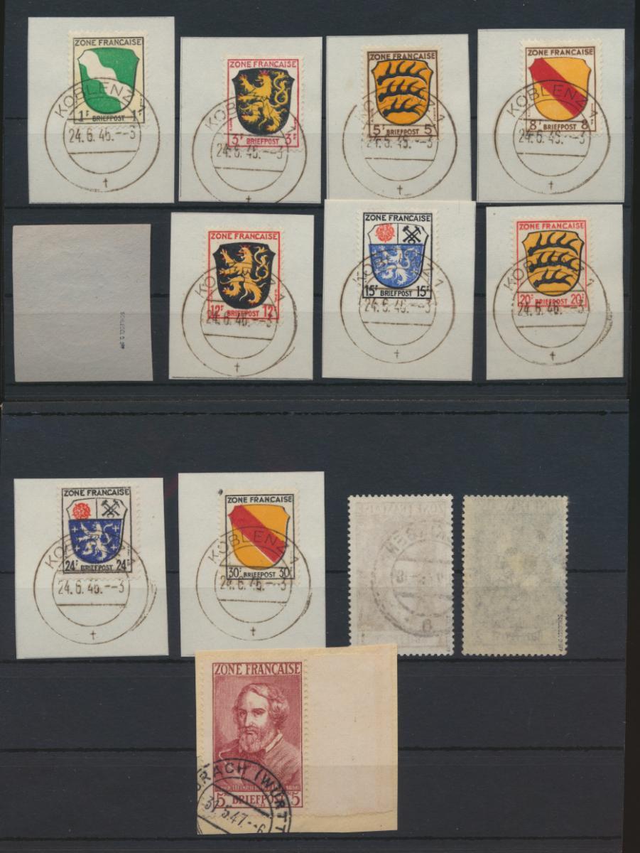 Besetzung Franz. Zone Allgemein 1-13 teils Briefstücke teils gepr Schlegel 250,- 1