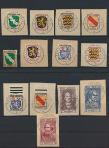 Besetzung Franz. Zone Allgemein 1-13 meist Briefstücke Kat.-Wert 250,00