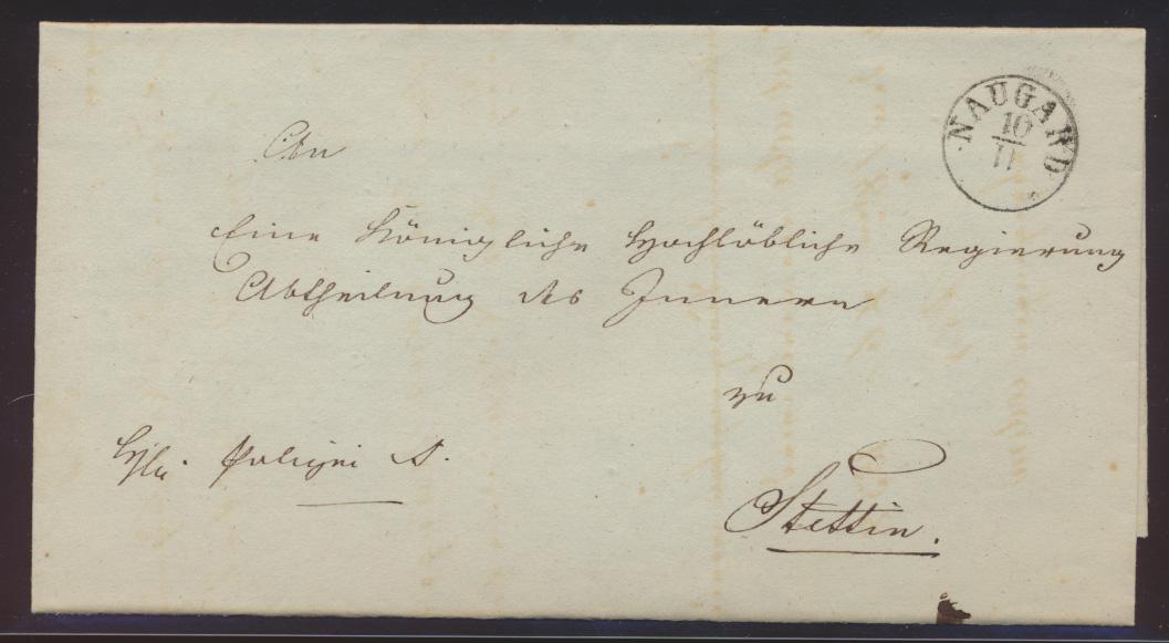 Altdeutschland Naugard Preussen Pommern Vorphila Brief nach Stettin  0