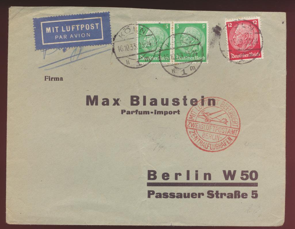 Flugpost airmail letter Brief Deutsches Reich MIF Hindenburg Zweigluftpostamt 0