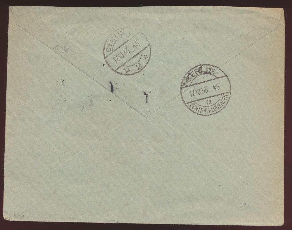 Flugpost airmail letter Brief Deutsches Reich MIF Hindenburg Zweigluftpostamt 1