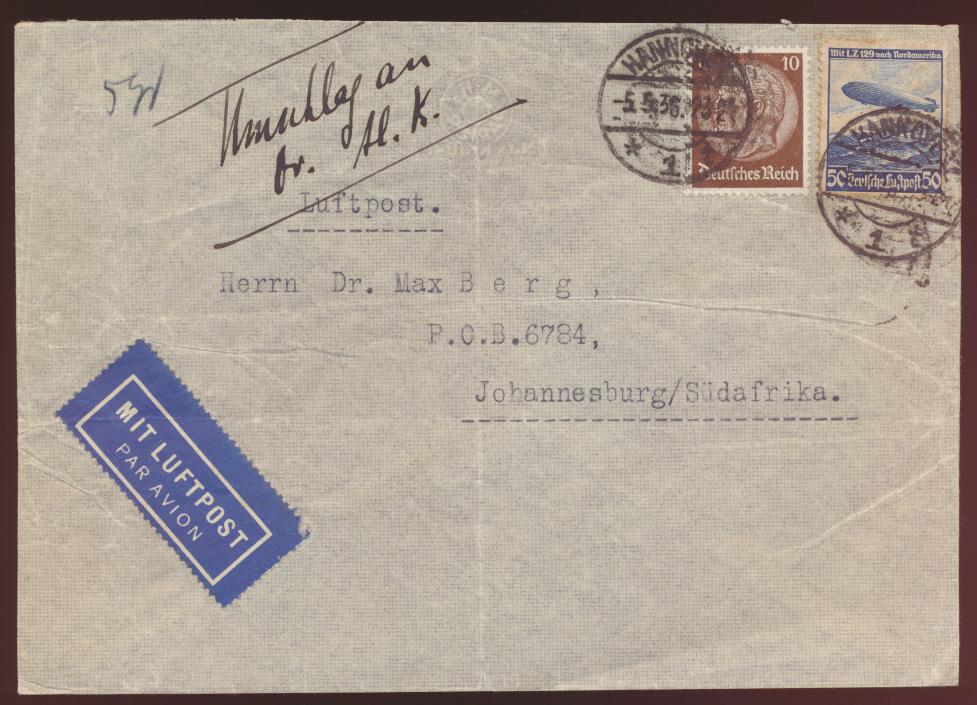 Flugpost Eilboten airmail letter Brief Reich Zeppelin Hindenburg LZ 129 Südafrik 0