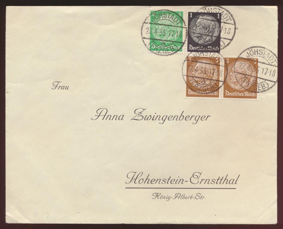 Reich Zusammendruck Hindenburg W 59 u.a. Jöhstadt Erzgebirge Hohenstein Ernst - 0