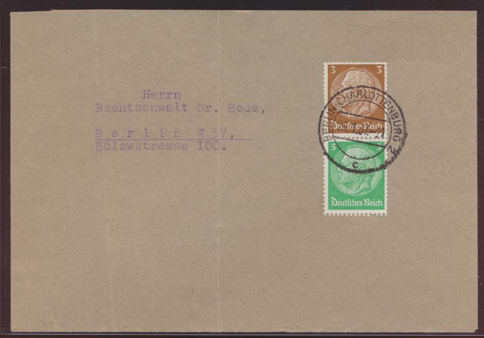 Reich Zusammendruck Hindenburg S 127 Berlin Charlottenburg nach W 57 0