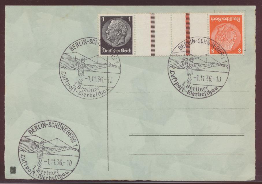 Flugpost Reich Zusammendruck Hindenburg KZ 24 selt. SST Berlin Luftpostschau auf 0