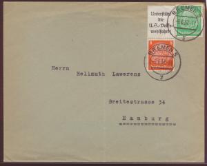 Flugpost Reich Zusammendruck Hindenburg S 131 NS Volkswohlfahrt Bremen 5 Hamburg