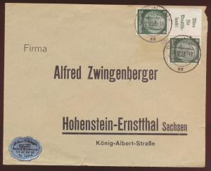 Deutsches Reich Zusammendruck Hindenburg ab Berlin nach Hohenstein Ernstthal