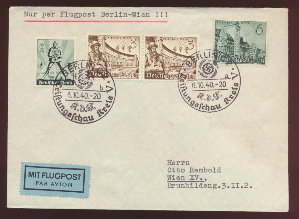 Flugpost Reich mit selt. SST Berlin GDF Leistungsschau nach Wien Österreich 0