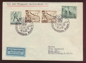 Flugpost Reich mit selt. SST Berlin GDF Leistungsschau nach Wien Österreich