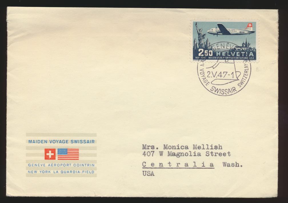 Flugpost airmail Schweiz Genf 479 Centralia Washington USA FDC Kat.-Wert 60,00 0