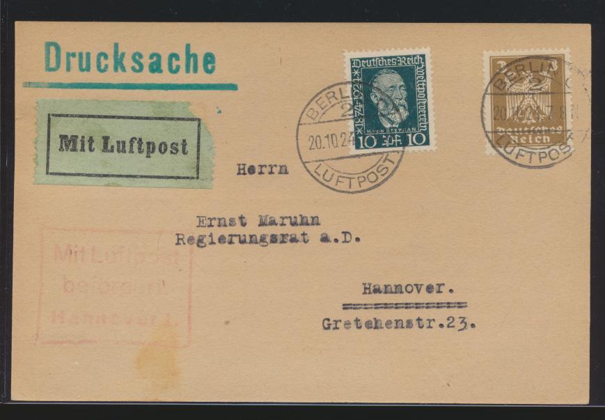 Flugpost airmail Deutsches Reich Karte Berlin Luftpost mit rotem R3 Hannover  0