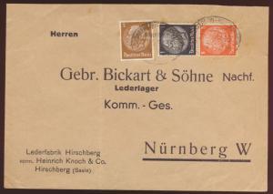 D Reich Brief Zusammendruck Hindenbrug Bahnpost