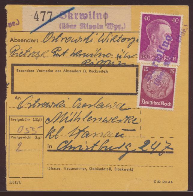 Skrwilno über Rippin Westpreussen D Reich Hitler Paketkarte selt Landpoststempel 0