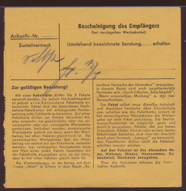 Skrwilno über Rippin Westpreussen D Reich Hitler Paketkarte selt Landpoststempel 1