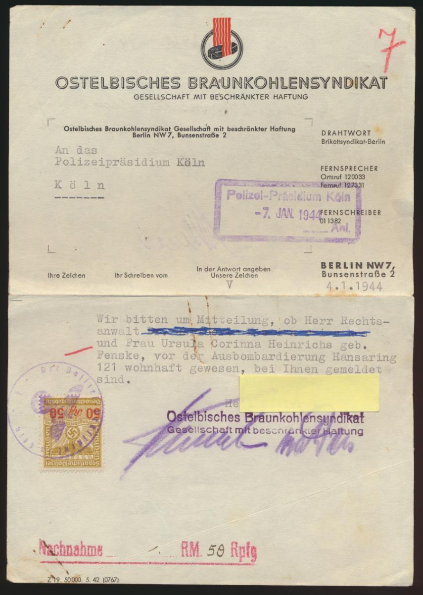 Deutsches Reich Braunkohlesyndikat Anfrage an Polizei Köln mit Stempelmarke 50  0