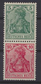 Deutsches Reich Zusammendruck Germania S 4 II ungebraucht Kat.-Wert 42,00 0
