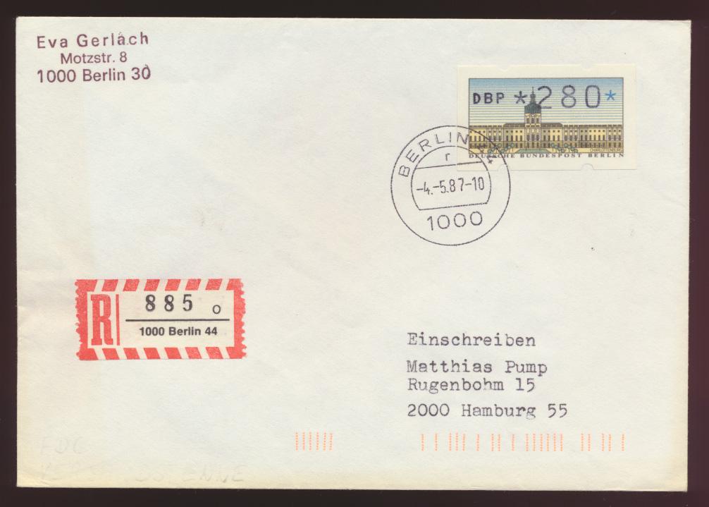 Berlin R Brief EF 280 Pfg. Automatenmarke als FDC Berlin nach Hamburg 4.5.1987  0
