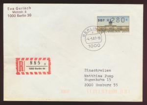 Berlin R Brief EF 280 Pfg. Automatenmarke als FDC Berlin nach Hamburg 4.5.1987