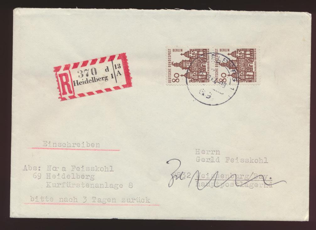 Berlin R Brief MEF 80 Bauwerke Heidelberg Weissenburg FDC 15.12.1964 0