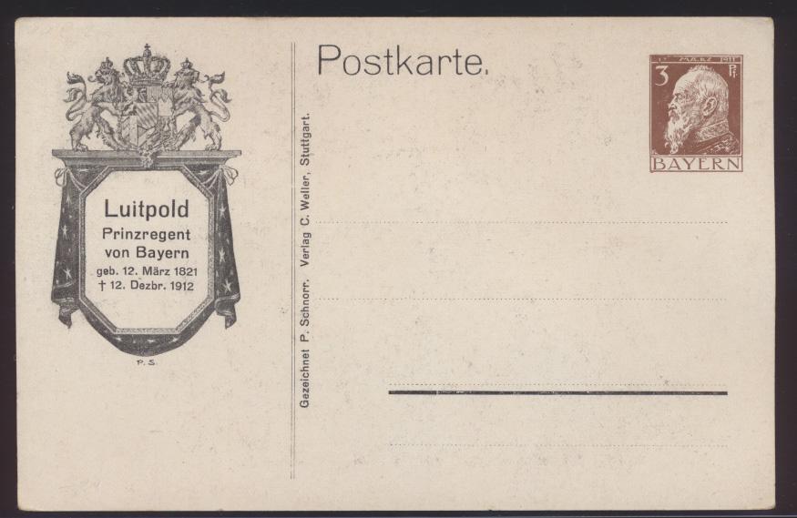 Bayern Privatganzsache Engel bekrenzt Prinzregent Luitpold PP 22 C 3 02 1