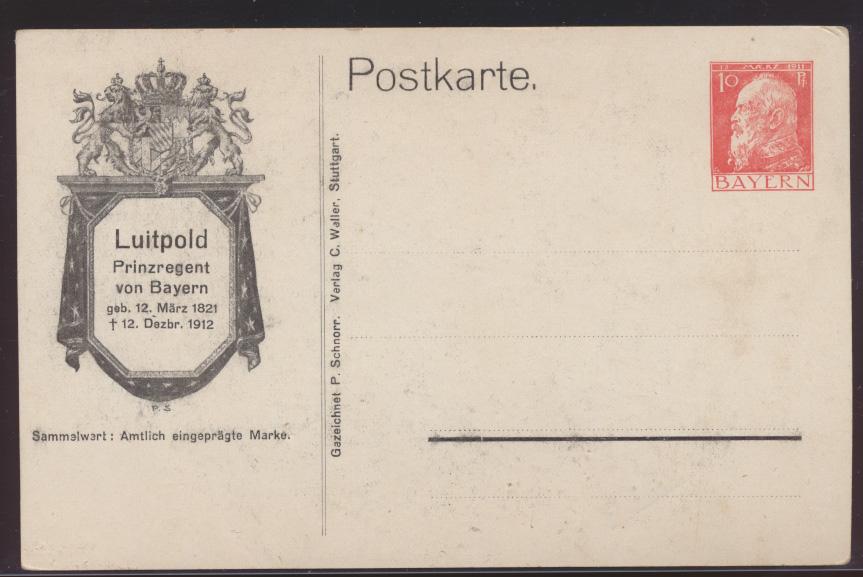 Bayern Privatganzsache Engel bekrenzt Prinzregent Luitpold PP 31 C6 01 1