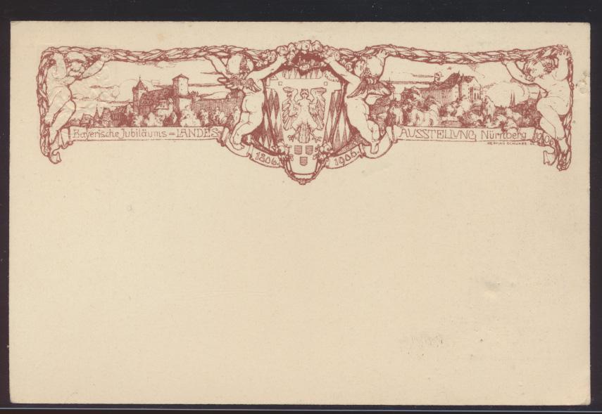 Bayern Privatganzsache Nürnberg Jugendstil Art Nouveau Landes Ausstellung  0