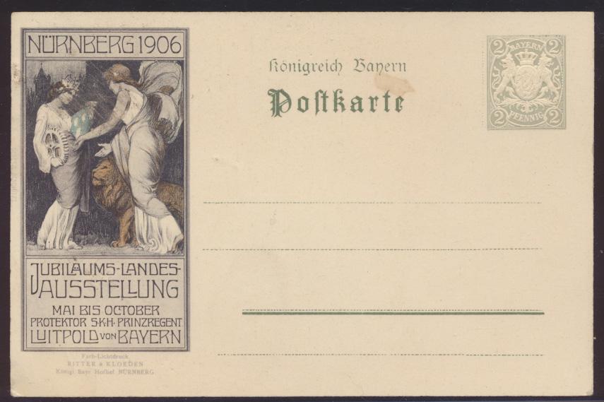 Bayern Privatganzsache Nürnberg Jugendstil Art Nouveau Landes Ausstellung  1