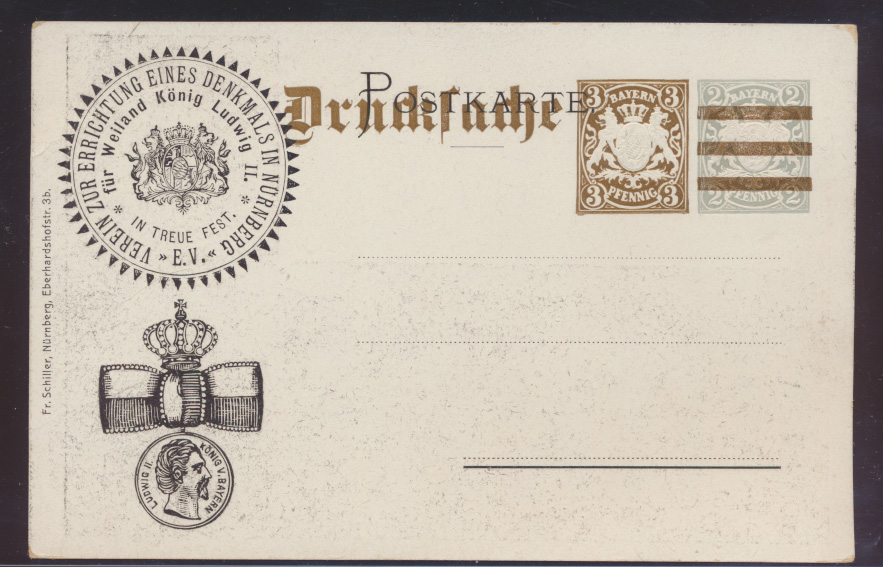 Bayern Privatganzsache Denkmal König Ludwig Löwe Wappen PP 21 E101               1