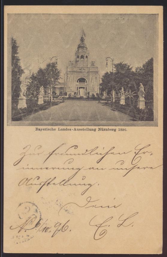 Bayern Ganzsache Nürnberg Landesausstellung 1896 mit ovalem Brückenstempel P 48 0
