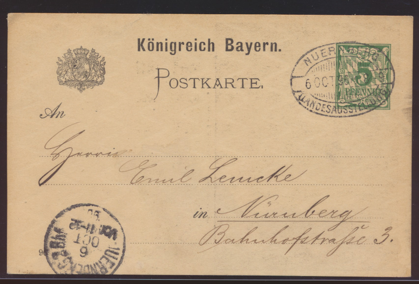 Bayern Ganzsache Nürnberg Landesausstellung 1896 mit ovalem Brückenstempel P 48 1