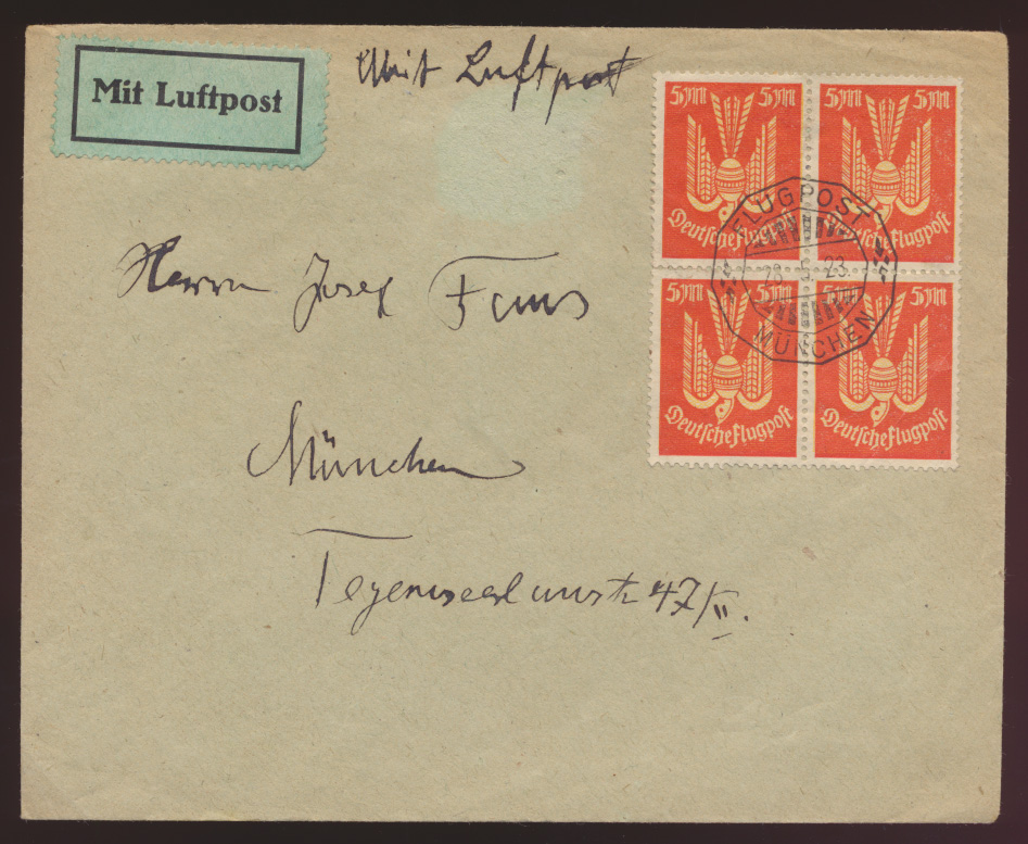 Flugpost Reich Holztaube Luftpost Brief Infla MEF 218 Viererblock SST München  0