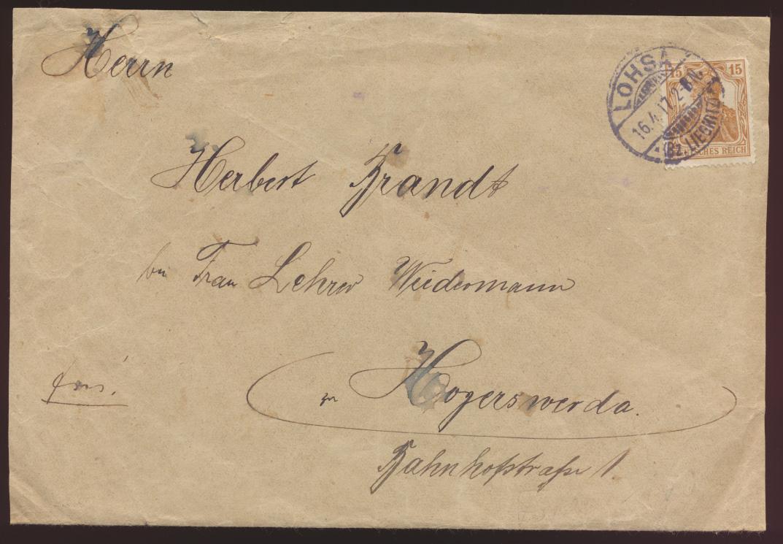 Reich Brief Germania EF 100 b von Lohsa nach Hoyerswerda  0
