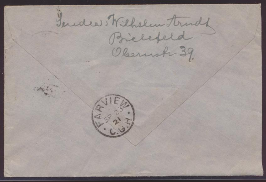 Reich Brief Germania MEF 60 Pfg. Destination Bielefeld Farview Cap Colony Africa 1