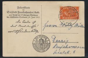 Flugpost Reich 111 b Festpostkarte SST Frankenhausen a Kyffhäuser Danzig geprüft