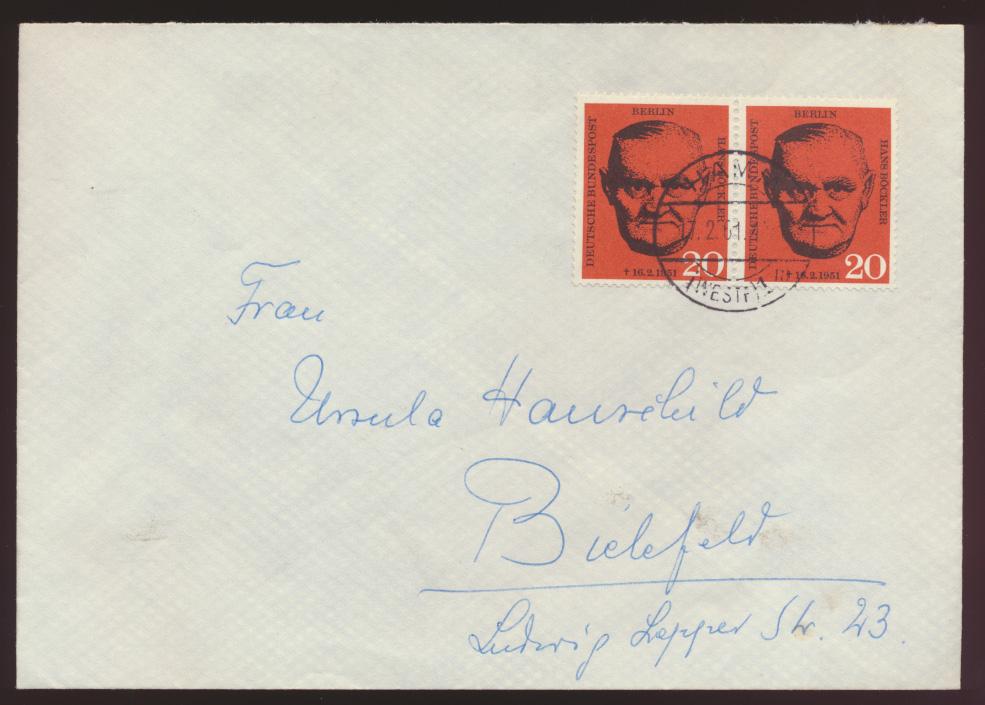Berlin Brief 197 Paar Hamm nach Bielefeld 17.2.1961 1 Tag nach Ersttag 0