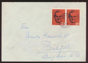 Berlin Brief 197 Paar Hamm nach Bielefeld 17.2.1961 1 Tag nach Ersttag