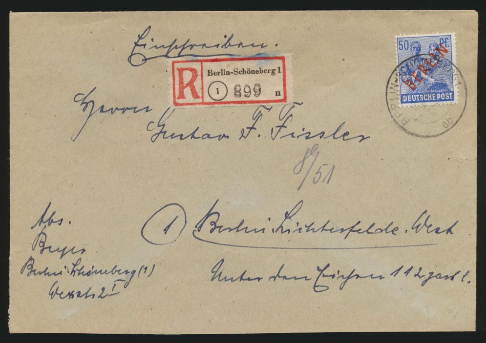Berlin Schwarzaufdruck R Brief EF 30 Schöneberg n. Lichterfelde 0
