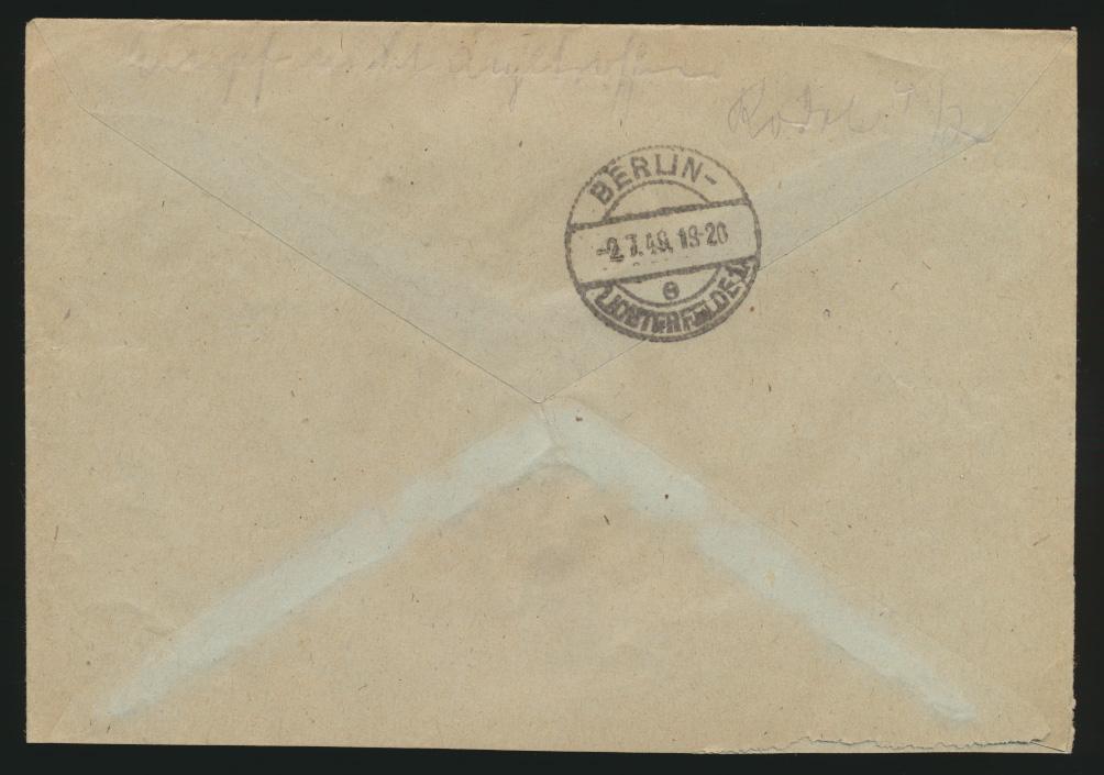 Berlin Schwarzaufdruck R Brief EF 30 Schöneberg n. Lichterfelde 1
