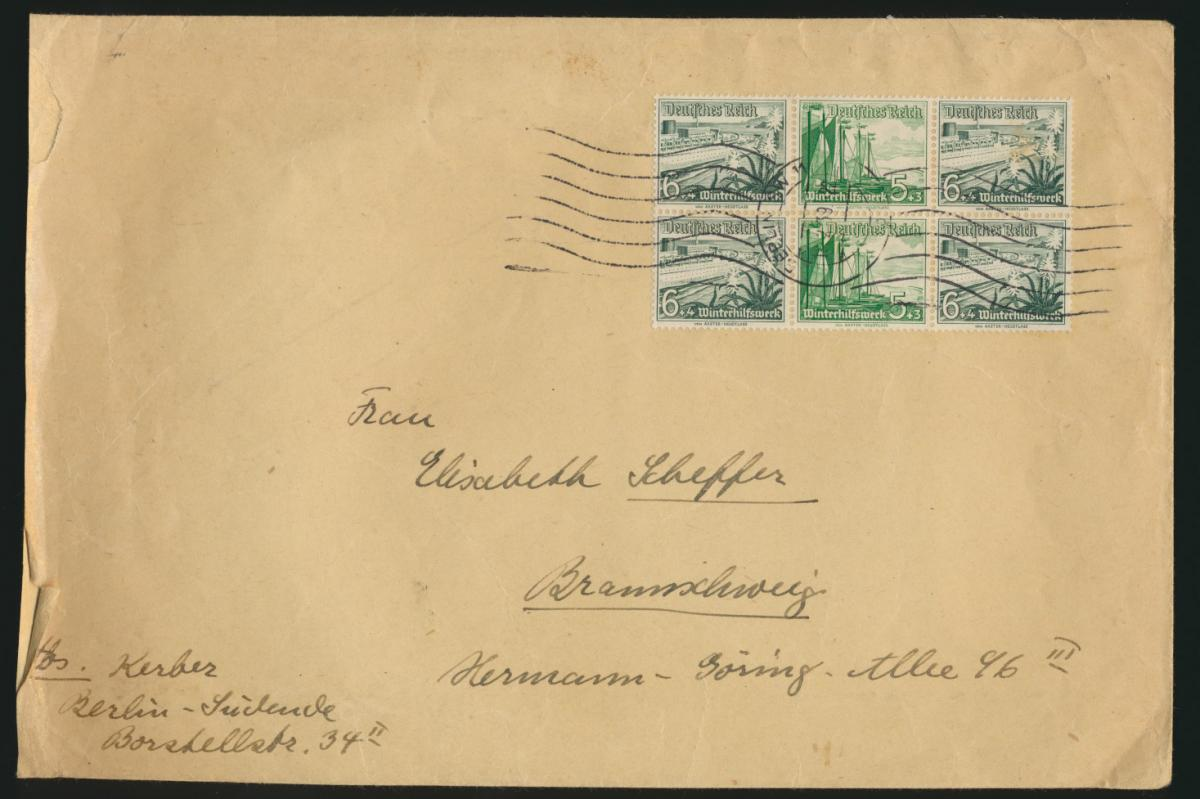 D. Reich Zusammendruck Brief WHW Schiffe 2x 6 + 5 + 6 Berlin Braunschweig 0