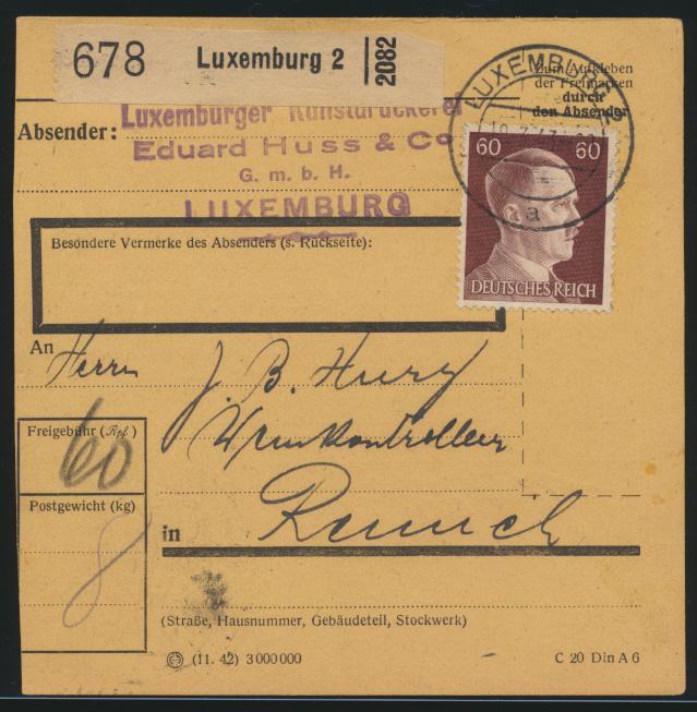 Besetzung Weltkrieg Luxemburg EF Deutsches Reich 797 60 Pfg. Hitler nach Remich  0