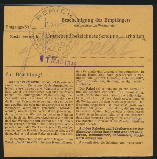 Besetzung Weltkrieg Luxemburg EF Deutsches Reich 797 60 Pfg. Hitler nach Remich  1
