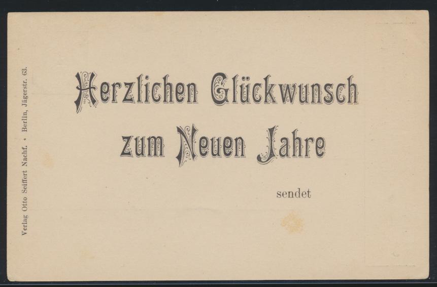 D. Reich Neujahr Privatganzsache PP 7C2101 Verlag Otto Seiffert Berlin Jägerstr. 0