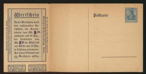 Reich Privatganzsache PP 37 G203 Wertgutschein Reklame Germania kompl mit Coupon